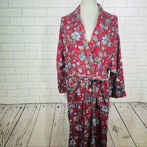 Vintage Victoria's Secret Red Floral Robe - S